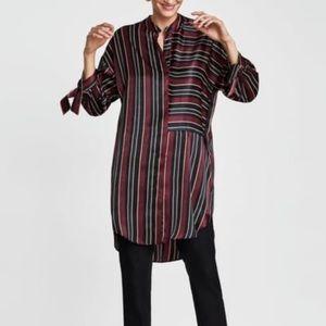 Zara Silky Striped Long Button Down Blouse/Tunic